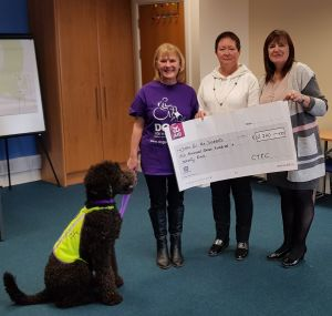 CTEC presenting cheque for €2770 to Dogs for the Disabled